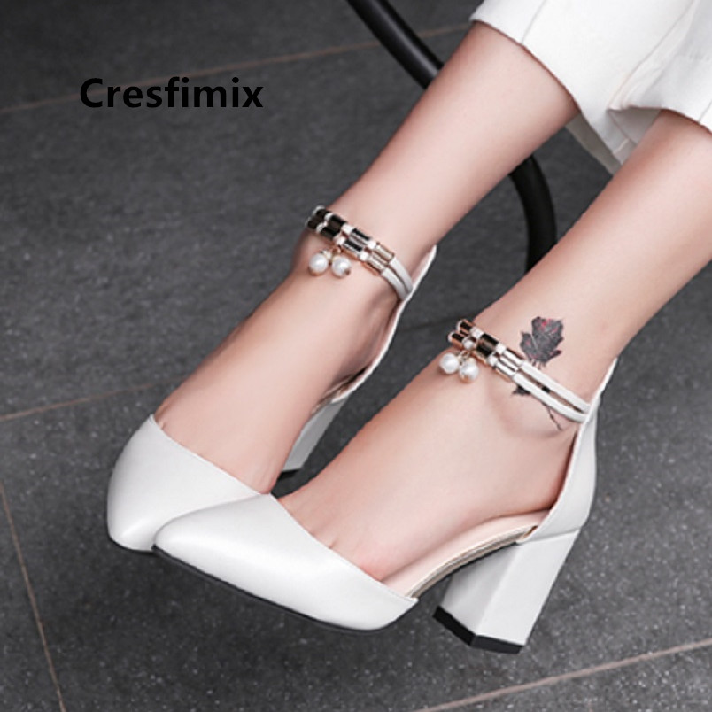 Marlisasa Zapato Negro Tacon Women Fashion White Comfort Buckle Strap High Heel Shoes Ladies Casual Pu Leather Pumps H5528