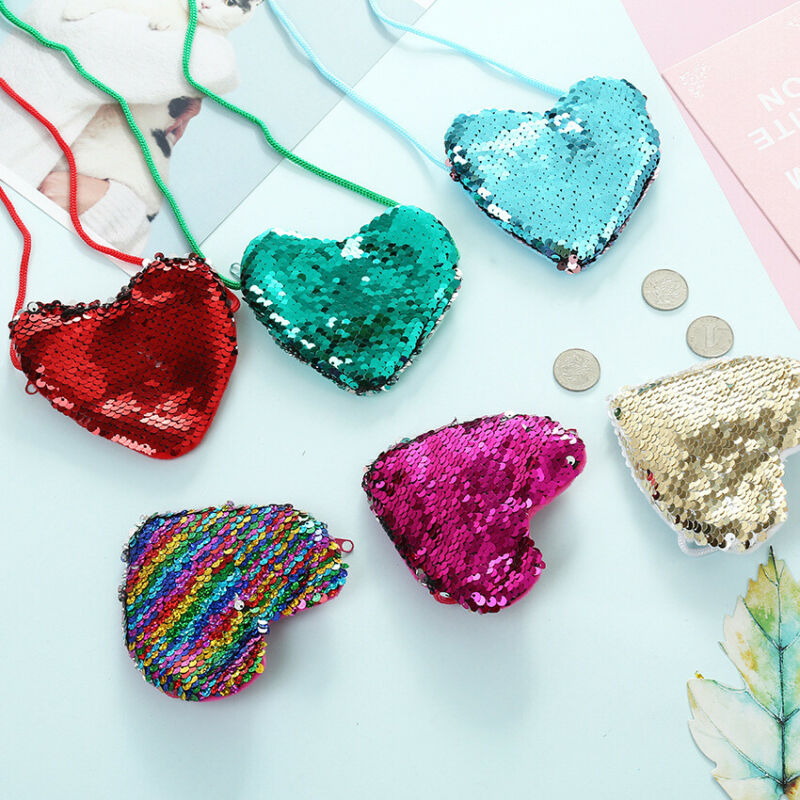 New Fashion Kids Handbags Girl Child Shoulder Paillette Crossbody Bag Heart Mini Sequin Handbags Colorful Coin Bags