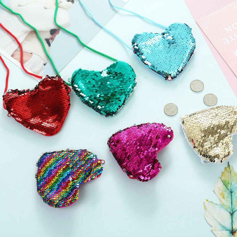 Nova moda crianças bolsas menina criança ombro paillette saco crossbody coração mini lantejoulas bolsas colorido sacos de moedas