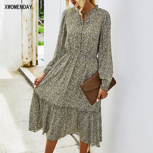 Long Dress Autumn Winter Green Long Sleeve Bow Collar Women Clothing Casual Floral Ruched Dresses For Women 2020 Fall Fashion