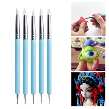 5pcs/Set Stainless Steel Two Head Sculpting Polymer+Soft Pottery Clay Tool Silicone Modelling Art Shaper Tools Dot Painting