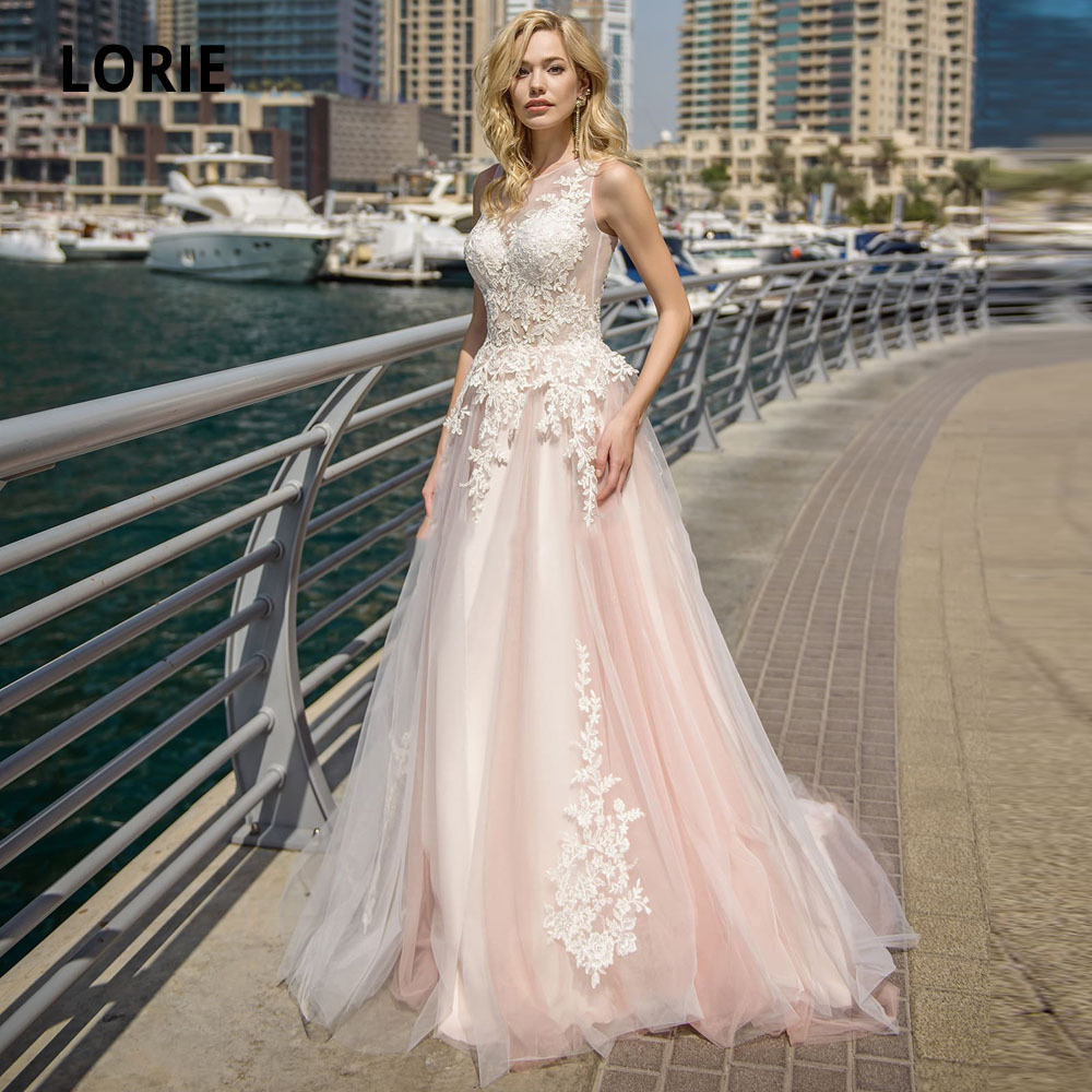 LORIE Elegant Lace Wedding Dresses A-line Light Pink Beach Bridal Gown O-Neck Sleeveless Boho Marriage Plus Size Sweep Train New