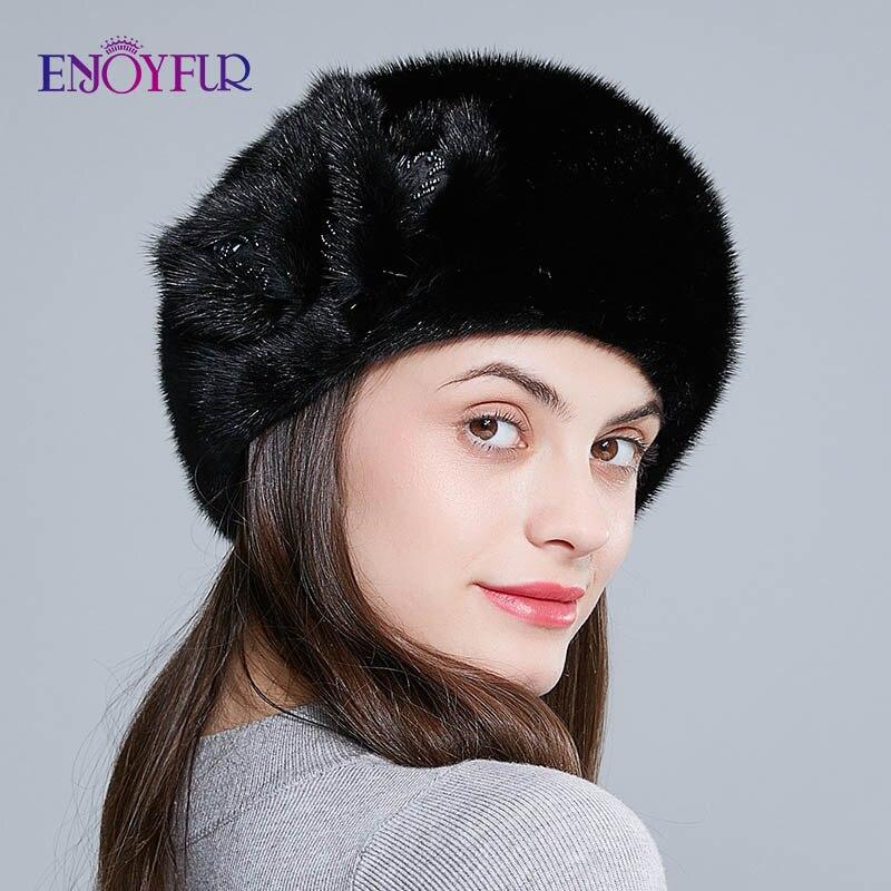 ENJOYFUR Hele nertsen bont baretten hoeden voor vrouwen winter warm mode bont caps effen kleur baret met bloem - 3