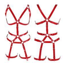 หนังสีแดงชุดสายรัด Bra เข็มขัด Gothic Punk เทศกาล RAVE ปรับชุดชั้นในเซ็กซี่ Body CAGE Garter เข็มขัดถุงน่องถุงน่อง