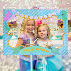 Mermaid Party Paper Photo Booth Props Baby Shower Girl Party Decoration Photo Frame Under The Sea Little Mermaid Birthday Party