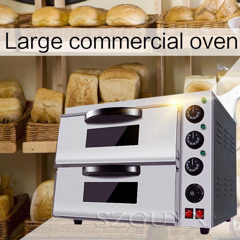 220 V/3200 W Double couche haute capacité oeuf tarte Pizza four Commercial en acier inoxydable Pizza four cuisson four électrique