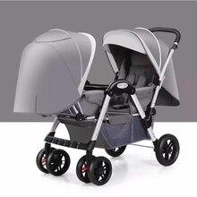 Коляска для малышей-близнецов ребенок может сидеть может лежать двойной лицом к лицу легкий складной амортизатор складной тележка