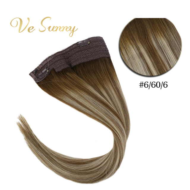 VeSunny One Piece Invisible Halo Hair Extensions Real Human Hair Flip Wire with Clips on Balayage Color #6/60/6 Brown mix Blonde