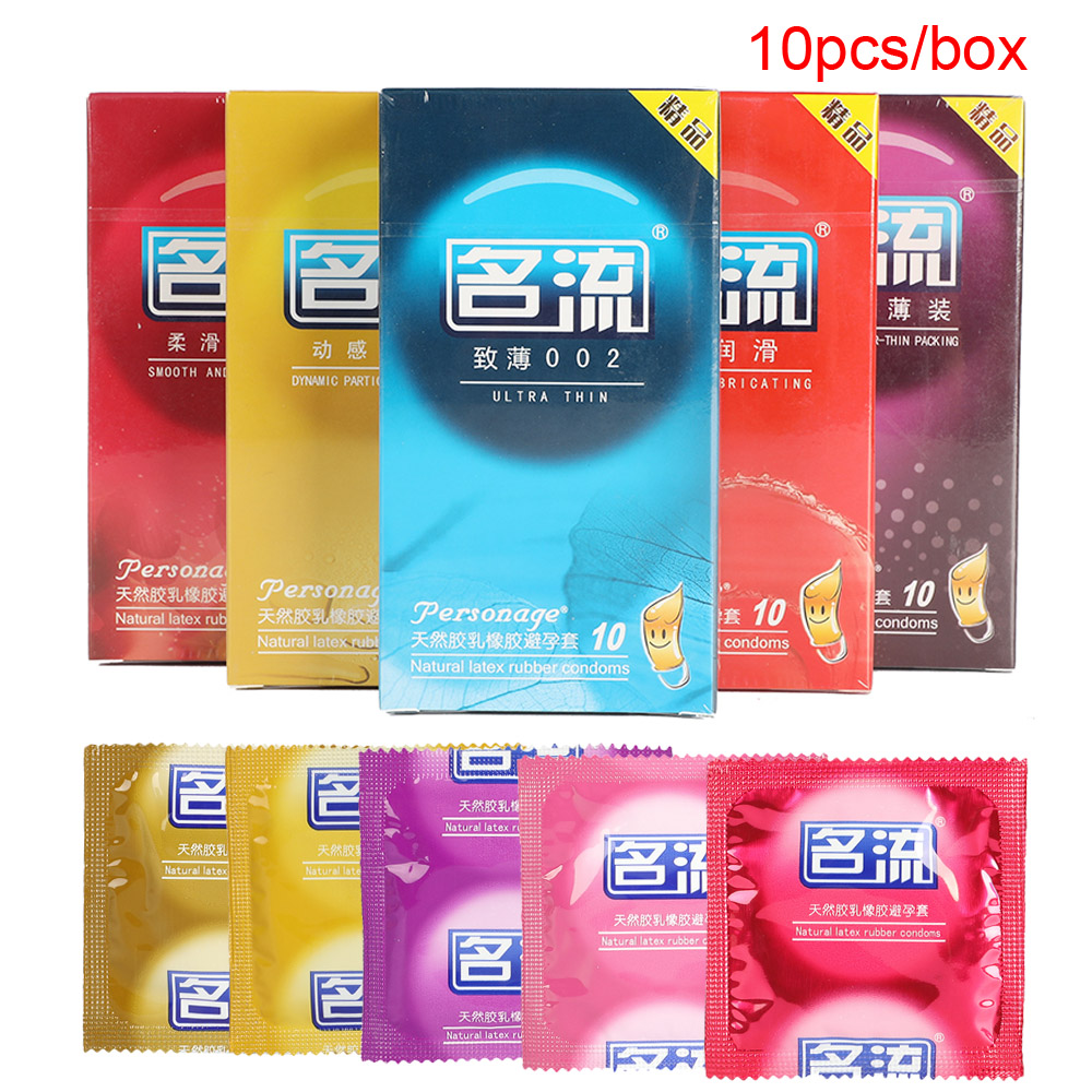 10Pcs Condom Smooth Thin Dots Lubricant 6 Type Natural Latex Condoms For Men Adult Better Sex Toys Safer Contraception