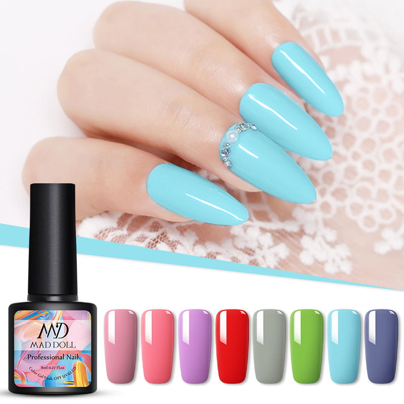 Colors Gel Nail Polish Pink Red Nude Pure Nail Color Soak Off UV Gel Polish Varnish Manicure Gel Lacquer 8ML MAD DOLL