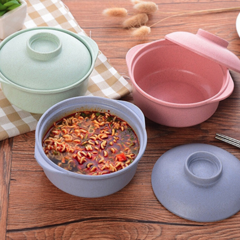 Household Wheat Straw Rice Bowl Leak-Proof Food Container Noodle Rice Soup Bowl Kitchen Dining Bar Supplies NEW!