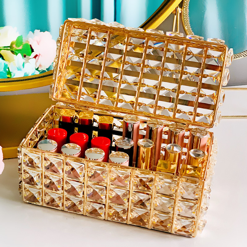 21 Lattices Lipstick Display Holder Crystal Box Home Desktop Cosmetics Lip Gloss Container Storage Case With Cover