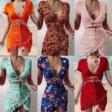 Robe froncée à volants pour femmes, manches courtes, imprimé Floral cryptographique, mode cravate portefeuille Mini robe, été 2021