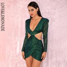 LOVE&LEMONADE Sexy green Deep V neck Open back Cross glitter glued Material Slim Fit Party Dress LM82065