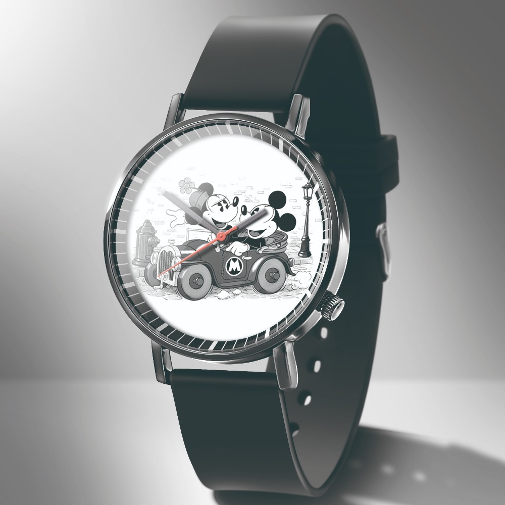 Hello Kitty Часы New Fashion Cartoon Mickey Kids Watch Reloj Casual Black Leather Cute Boy Girl Like Dress Quartz Watch +% D1% 87% D0% B0% D1% 81% D1% 8B