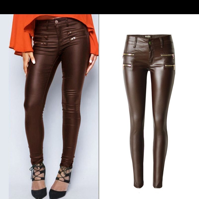Autumn and winter new fashion low waist women brown imitation leather large size denim pants double zipper motorcycle pants K175