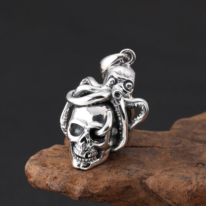Véritable 925 en argent Sterling créatif poulpe crâne pendentif collier mode Thai argent bijoux pour hommes et femmes