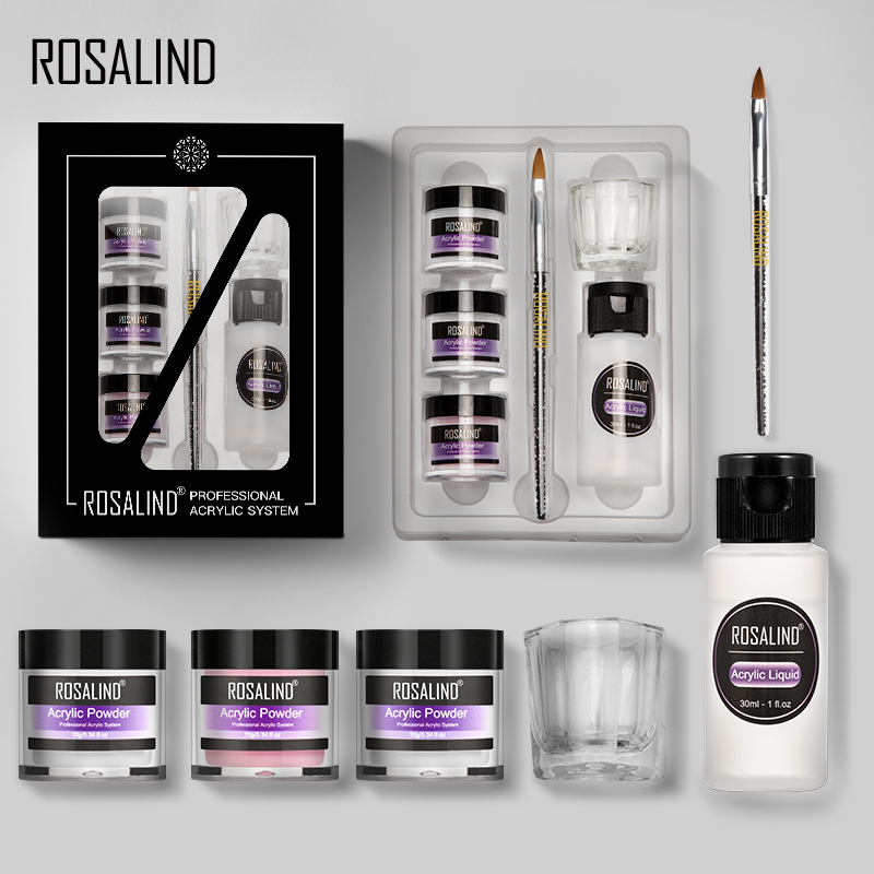 ROSALIND Acrylic Powder Set Dipping Carve Crystal Powder Poly Gel For Nail Extension Builder Tools Manicure Set Acrylic Nail Kit