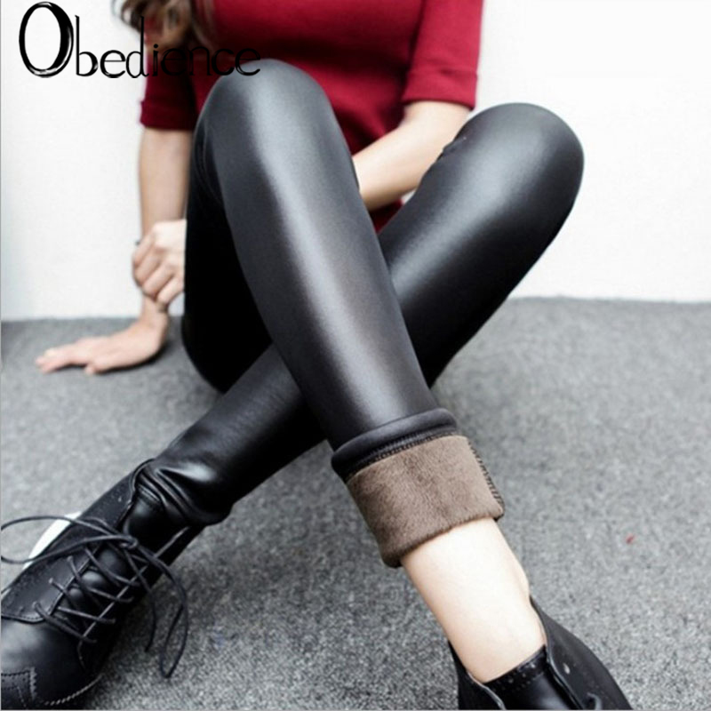 Obedience Pop High Waist Warm Gold Thick Velvet Elastic Women Pu Leather Pencil Pants Female Winter Stretch Skinny Long Trousers