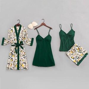 Image 3 - Qweekセクシーな女性のパジャマシルク2020プリント女性pijamasパジャマ4点スパゲッティストラップサテンパジャマ胸パッド