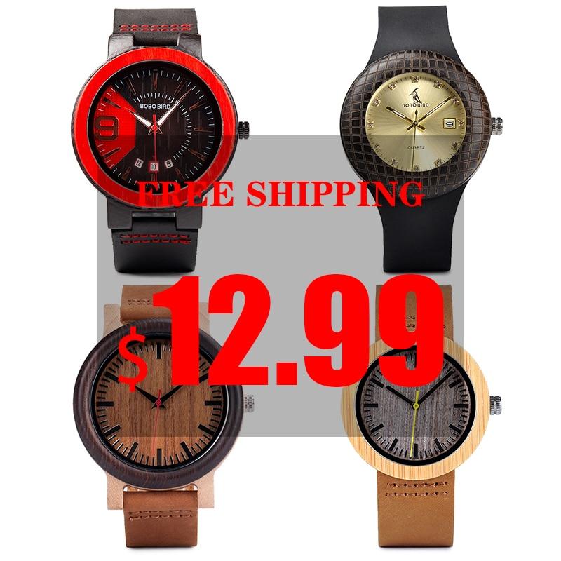 Bobo pássaro madeira relógio masculino senhoras apuramento preço promoção quartzo relógios de pulso pulseira de couro feminino relogio masculino atacado