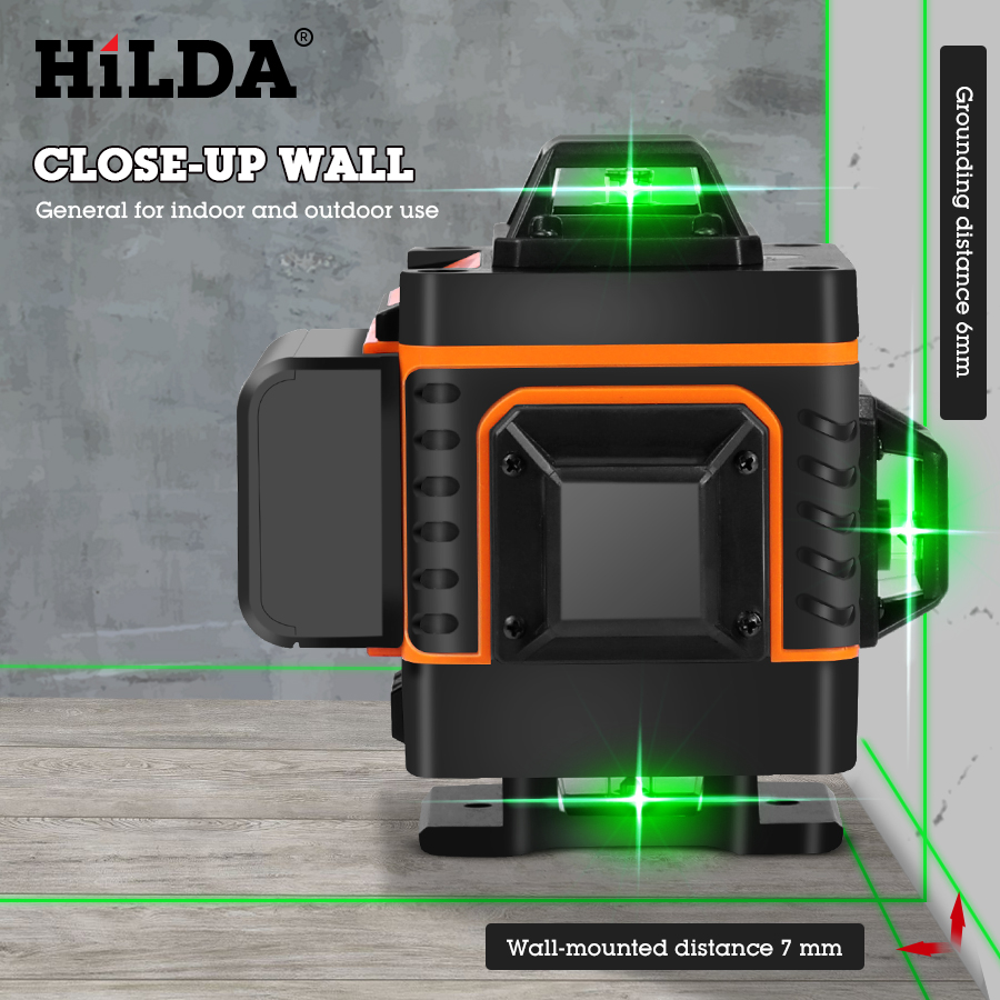 Tools : HILDA 3D 4D Laser Level Level Self-Leveling 360 Horizontal And Vertical Cross Super Powerful Green Laser Level