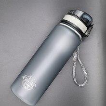 Gömme yaşam Tritan plastik spor şişe elastik kapak uzay şişesi sürme yürüyüş öğrenci taşınabilir açık spor su şişeleri