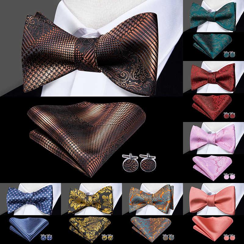 LH-2037 Hallo-Krawatte Luxus 100% Silk Woven Männer Schmetterling Selbst Fliege Neue Plaid Braun BowTie Taschentuch Taschentuch Manschettenknöpfe anzug Set