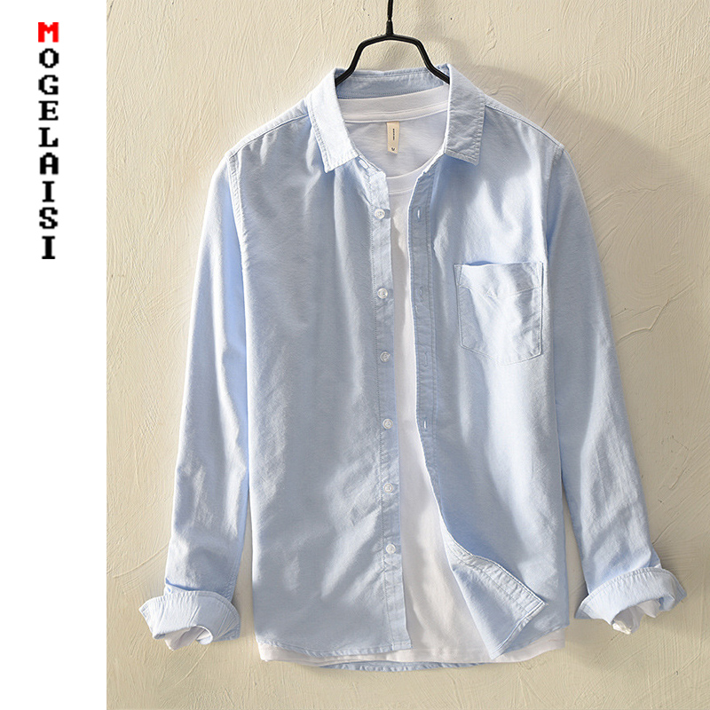 New Spring Casual Shirt Men's Oxford 100% Cotton Solid Soft Tops Man High Quality Pocket Shirts 4 Colors Asian Size 3XL 749