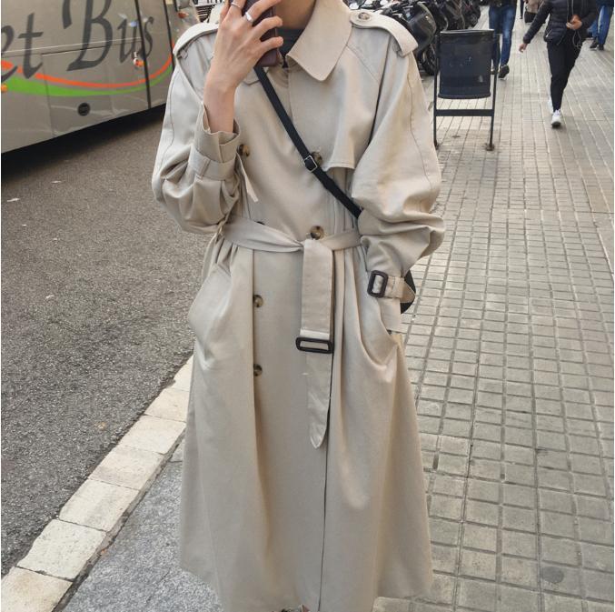 British Double Breasted Oversized Long Trench Coat Women Windbreaker Fashion Female Turn-down Collar Long Overcoats Winter 2019
