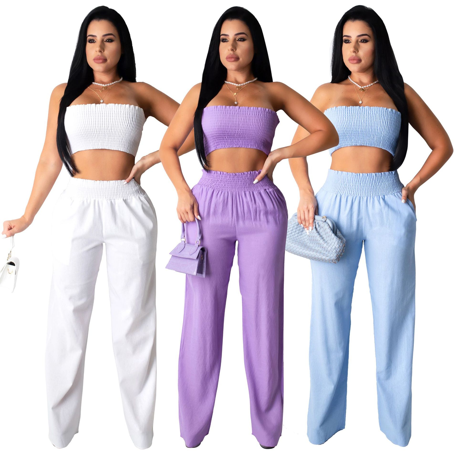 Women's Sexy Bodycon  Backless 2 Piece Outfit Elegant Off Shoulder Crop Top And Long Pants