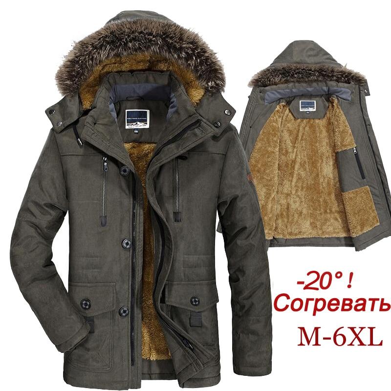 Winter Jacket Men Plus Size 5XL 6XL Cotton Padded Warm Parka Coat Casual Faux Fur Hooded Fleece Long Male Jacket Windbreaker Men 1