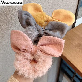 Solid Color Hair Scrunchies Women  Hairband Ponytail Holder Faux Fur Rabbit Ears Hair Rope Hair Ties Cute Girls Hair Accessories faux fur overlay slippers with rabbit ears