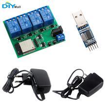 4 канальный Wi Fi Bluetooth релейный модуль ESP32, ЕС, CE, адаптер питания US, UL, зарядное устройство, USB в TTL, модуль преобразователя для Android, IOS