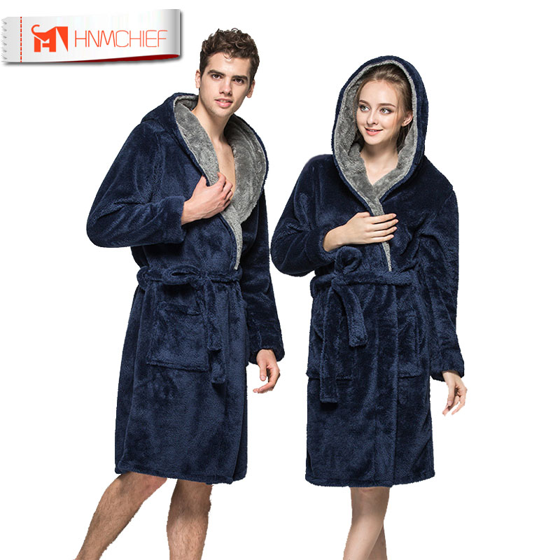 Bath Robe New Arrival Lovers Luxury Winter Thick Flannel Long Bathrobe Men's Women's Homewear Male Sleepwear Lounges Pajamas