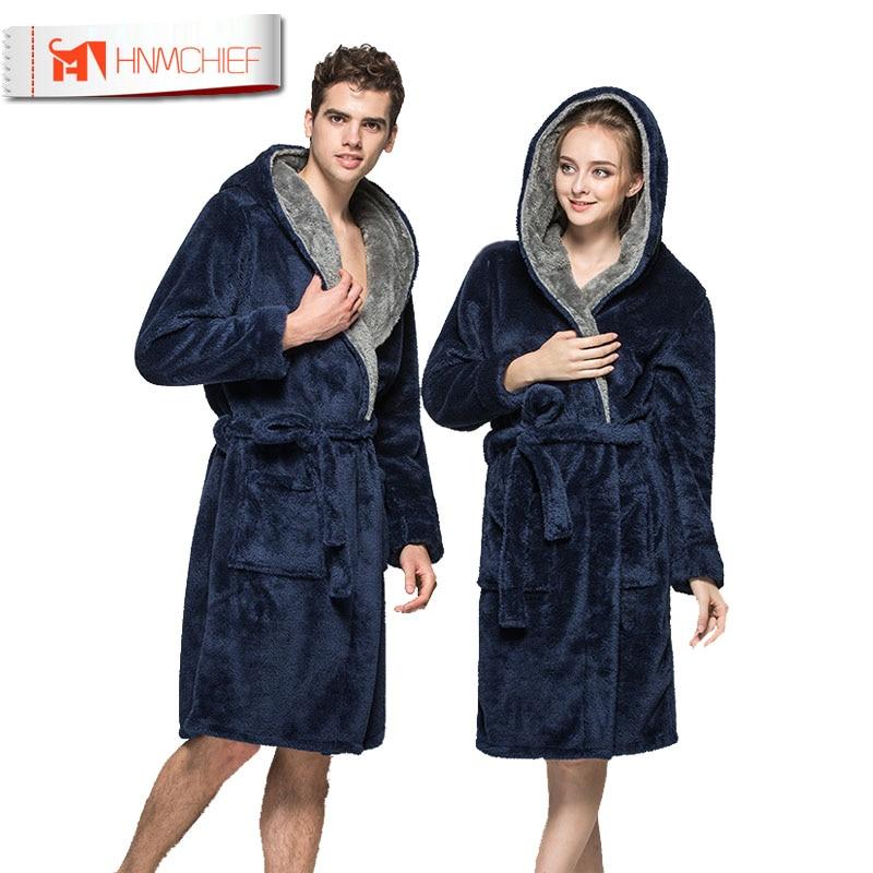Bath Robe New Arrival Lovers Luxury Winter Thick Flannel Long Bathrobe Men's Women's Homewear Male Sleepwear Lounges Pajamas