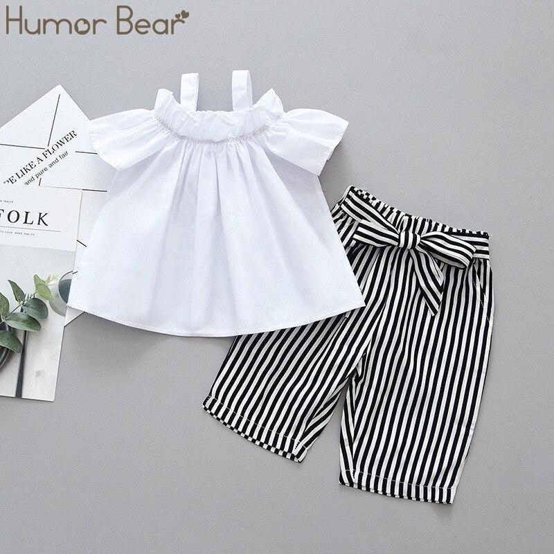 Humor Bear Kids Clothing Sets Coverall Shoulder Strap Short Sleeve Top+ Striped Pants 2Pcs Suit Children Kids Clothes Suit