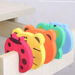 Image 2 - 5Pcs/Lot Protection Baby Safety Cute Animal Security Door Stopper Baby Card Lock Newborn Care Child Finger Protector