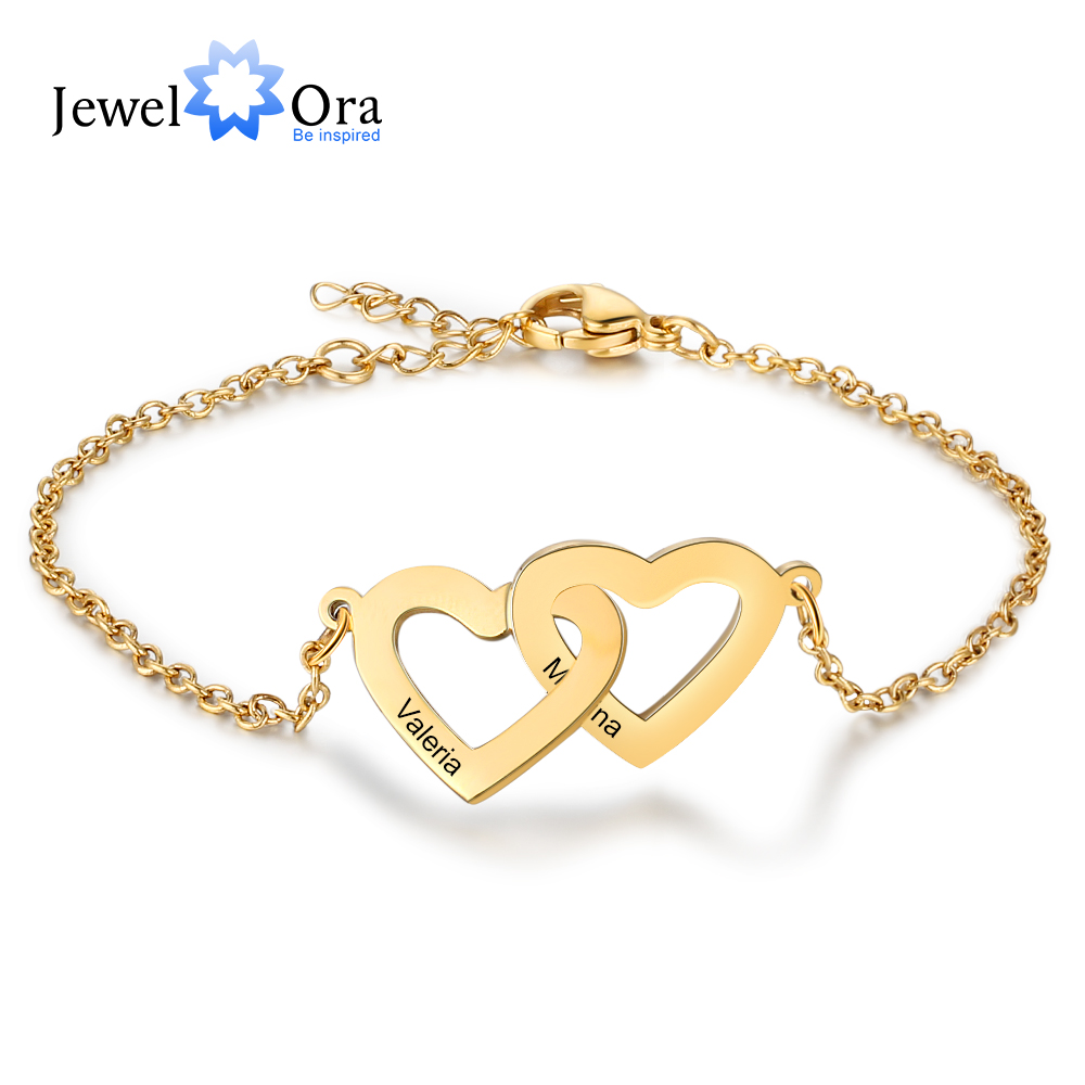 Personalized Intertwined Heart Bracelets With 2 Custom Names Customized Stainless Steel Engraved Bracelets & Bangles (BA102500)