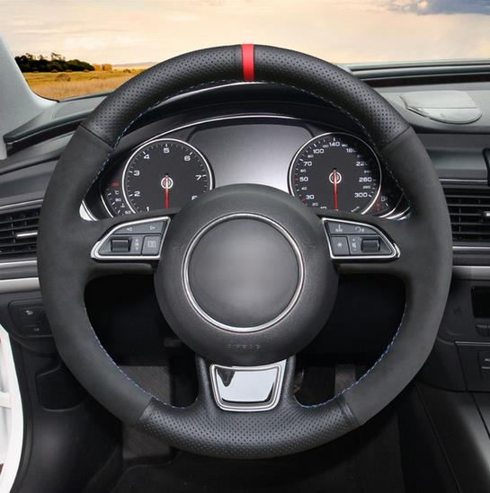 Black Genuine Leather Hand Sew Wrap Car Steering Wheel Cover for Audi A3 A4 A5 A6 A7 Allroad RS 7 2014 2015 S6 S7 2013|Steering Covers| |  - title=
