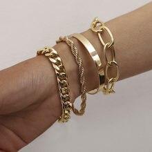 Joyería Popular con Lisa C-en forma de mezcla y Encuentro de giro pulseras de cadena simple exagerado O-cadena pulsera para mujeres regalos