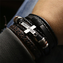 3 Pcs/Set Leather Bracelets Men Bangles For Women Wood Beads Feather TRUST IN GOD Cross Charm Homme Gift Jewelry Freely Shipping