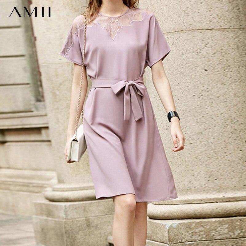 Amii Spring Elegant Lace Mesh Dress Female Round Neck With Belt Chiffon A-line Dresses 11960036