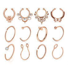 12-15PC Fake Nose Rings Hoop Clip On Nos