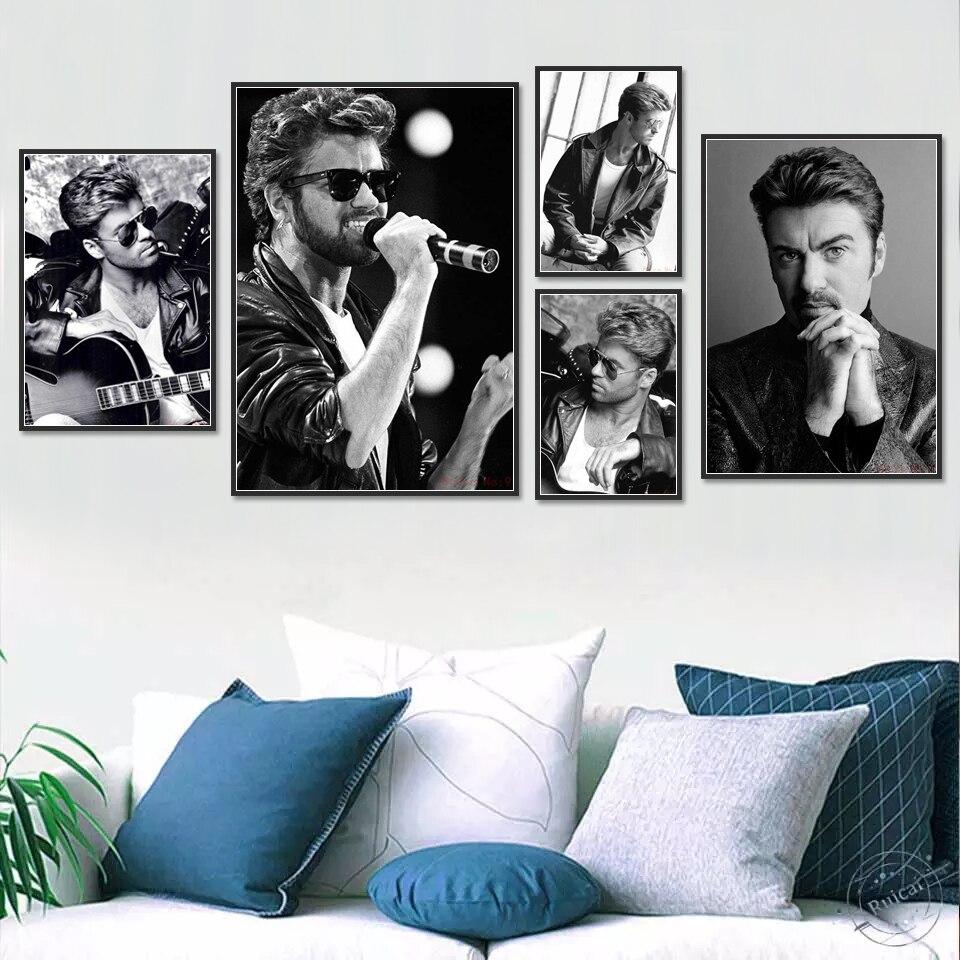 Джордж Майкл, плакат, музыка, звезды, принты, настенное искусство, Современная Картина на холсте, настенные картины для гостиной, домашний де...