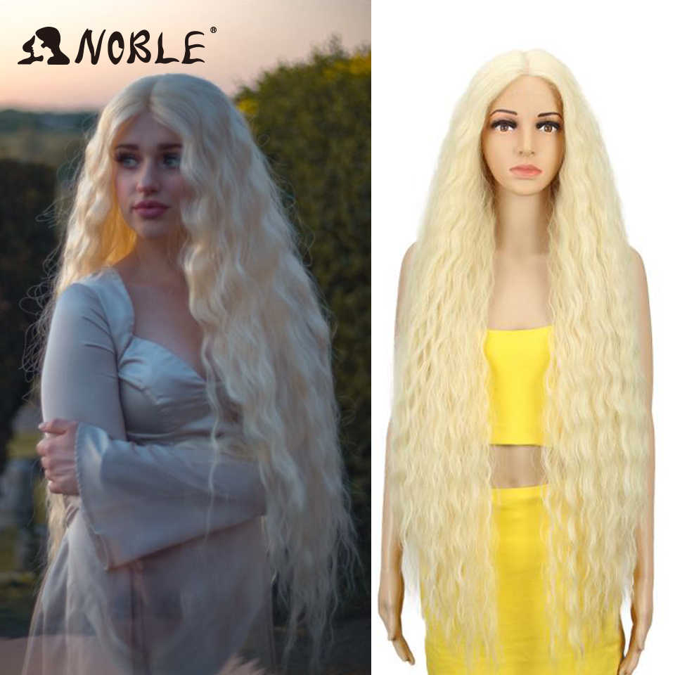 Noble Cosplay Synthetische Lace Front Pruik Lange Pruik Cosplay Krullend 42 Inch Ombre Blonde Kleur Pruik Synthetische Lace Front Pruik voor Vrouwen
