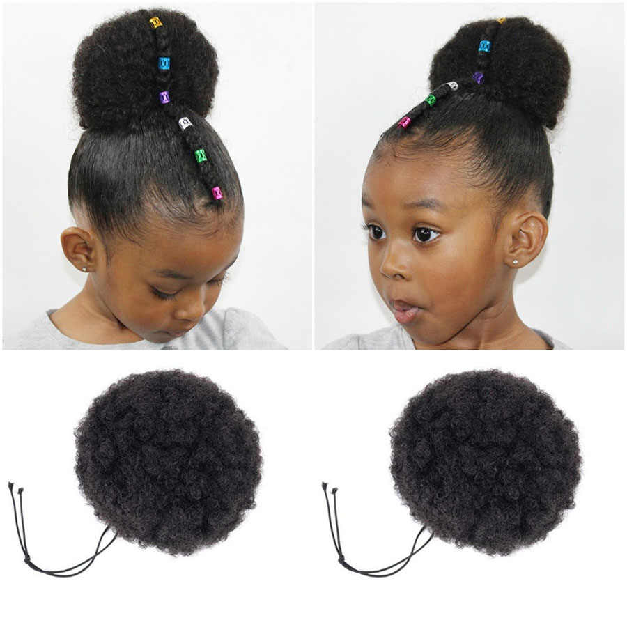 Africa Children Boys Girls Curly Scrunchie Chignon With Rubber Band Synthetic Buns For Black Hair Ring Wrap Ponytails