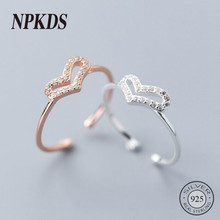 New Sterling 925 Silver Full Zircon Heart Rings High Quality Texture Korea Style Rings for Women 925 Silver Fine Jewelry Girls(China)