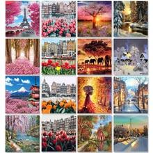 Quatro estações cenário diy pintura por números na lona fotos a óleo para adultos acrílico colorir por número quadro decoração de casa