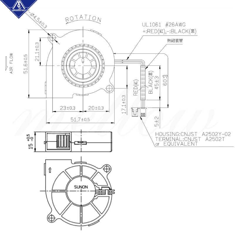 まろやかな独占 sunon 3D プリンタ送風ファン 5015 24 v 0.41A ダブルベアリングファン遠心 dc 冷却ターボファン 5015 s